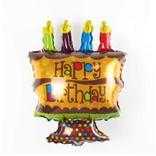 SUPER-SHAPED HAPPY BIRTHDAY GOLDEN BROWN CANDLE CAKE