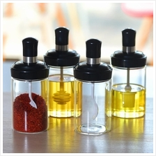 New Condiment Bottle with Spoon Cruet Oil Bottle with Brush Honey Jar