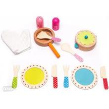 Kids Pretend Play Wooden Cookware Set Toys With Kitche