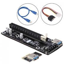 USB 3.0 PCI-E Express 1x To 16x Extender Riser Card Adapter Power Cab