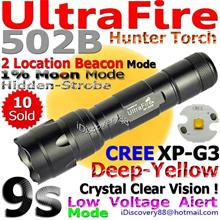 UltraFire 502B Deep-Yellow Cree XP-G3 9s Hunter LED Torch FlashLight