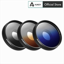 AUKEY PF-S1 3 in 1 Polarising Filter Kit (Blue + Grey + Orange) Lens)
