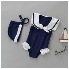 Baby Girl Cute Marine Uniform Cosplay with Swimming Cap Swimsuit Swimw