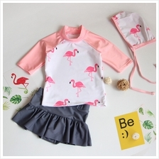 Baby Girl Cute Short Sleeve Flamingo with Swimming Cap Swimsuit Swimwe