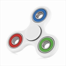 COLORFUL TRILATERAL PATTERN ABS HAND SPINNER STEEL BEARINGS (WHITE)