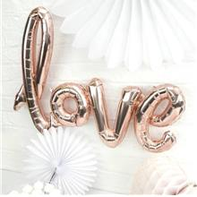 Air-Filled Soft Chrome Love Cursive Letter Balloon 40-inches