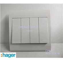 HAGER STYLEA 10A 4 Gang 2 Way Switches