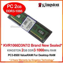 KINGSTON 2GB DDR3-1066 (PC-8500) DESKTOP PC RAM Memory (KVR1066D3N7/2)
