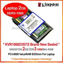 KINGSTON 2GB DDR3-1066 (PC-8500) LAPTOP RAM Memory (KVR1066D3S7/2)