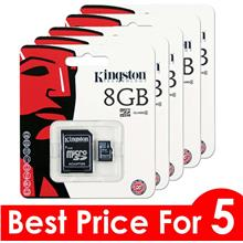 Best Price For 5 x Kingston 8Gb Micro SDHC Class 4 Flash Memory Card With Adap