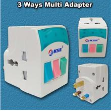 KSE 3Way Universal Multi Adapter With On/Off Switch