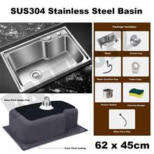 304 Stainless Steel Kitchen Single Bowl Basin Sink 62*45cm