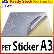 10pc PET A3 Sticker Silver Glossy/Matt Label Laser Print Kertas Lekat