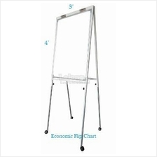 Economic Flip Chart White Board 4' x 3', Adjustable Height c/w Roller