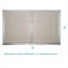 Sliding Glass Cabinet Soft Board 3' x 6'-Free Delivery & Installation