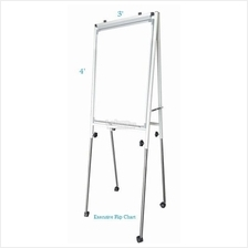 Conference Flip Chart 4' x 3', Adjustable Height c/w Roller