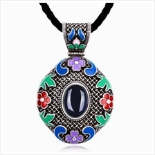 N014-A WOMEN NATIONAL STYLE NECKLACE (DEEP BLUE)