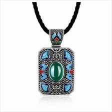 N004-C LADIES NATIONAL STYLE RECTANGLE SHAPE PENDANT NECKLACE (GREEN)