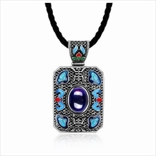 N004-A LADIES NATIONAL STYLE RECTANGLE SHAPE PENDANT NECKLACE (BLUE)