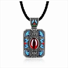 N004-B LADIES NATIONAL STYLE RECTANGLE SHAPE PENDANT NECKLACE (RED)