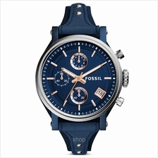Fossil ES4113 Women Original Boyfriend Sport Chronograph Blue Leather Watch