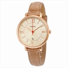 Fossil Jacqueline White Dial Camel Leather Strap Women's Watch - ES3487
