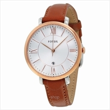 Fossil Jacqueline Silver Dial Brown Leather Women's Watch - ES3842