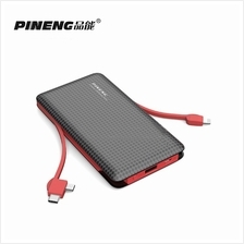 PINENG PN-956 10000mAh Built-In 2 Cable Lithium Polymer Power Bank Black Red