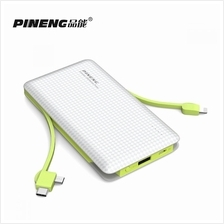 PINENG PN-956 10000mAh Built-In 2 Cable Lithium Polymer Power Bank White Green