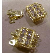 2p Rhinestone Gold Color 3-strand Clasps Findings G32 for Jewelry Maki..