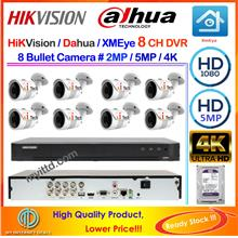 Qi Tech CCTV 8-CH HD DVR Recorder with Infra Red BULLET Camera (W0D8L)