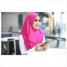 Exclusive Chiffon Tudung Hot Pink Himawari Shawl Instant 2loop Hot Pink