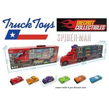 Spiderman Toy Truck Diecast Cars Playset  Car Trailer Truck Alloy Cars
