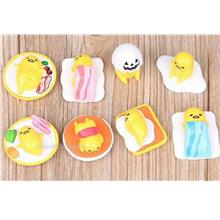 Lazy Gudetama Egg Yolk Figurine. Yellow Egg Toy. Cake topper. 8pcs set