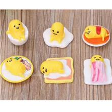 Lazy Gudetama Egg Figurine. Yellow Egg Yolk Figures. Cake Topper. 6pcs