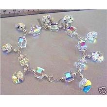 3 Colour Choices! 925 Sterling Silver Swarovski Bracelet Crystal AB