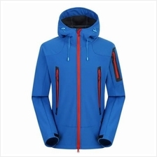 WATERPROOF BREATHABLE OUTDOOR SOFT SHELL JACKET COAT FOR MEN (BLUE)