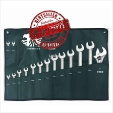Sata 08025 Combination Wrench Set 15Pcs Size 8-24mm Free Adjustable Wr