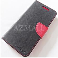 MERCURY Fancy Diary Book Case Flip Cover Pouch Lenovo A850 ~BLACK/RED