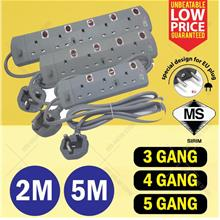 SIRIM APPROVED 2M/5M Extension Trailing Power Adapter 3 4 5 GANG
