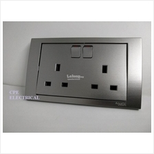 SCHNEIDER VIVACE KB25 13A 250V Twin Switched Socket Aluminium Silver