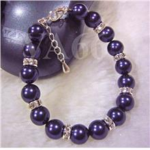 925 Children Bracelet Dark Purple Swarovski Pearl Diamond Rhinestone R..