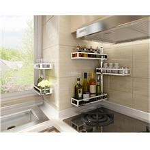 Wall Shelves Stainless Steel Rotating Kitchen Rack Spice Rack