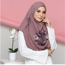 Colourful Flora With corak Shawl Instant 2loop Purple