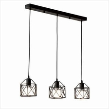 Industrial Black Pendant Lights Living Room Lamp 3-LIGHT E27 (BLACK)