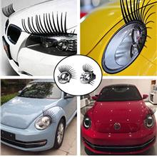 Car Stickers - 1 Pair 3D Charming Black Fake Eye lash Sticker Decal Ca