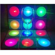LED Pad Coaster, 7 Colors Changing, Micro USB Charging Mats for Wine