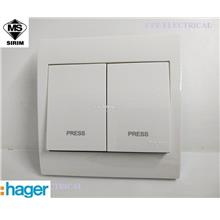 HAGER STYLEA 10A 2 GANG PRESS SWITCH (2 GANG AUTO GATE) White