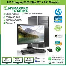 HP Compaq 8100 Elite MT i3 1st Gen 4GB 250GB HDD + 19' LCD Monitor