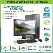 HP Compaq 8200 Elite SFF i7 2nd Gen 4GB 250GB HDD + 20' LED Monitor